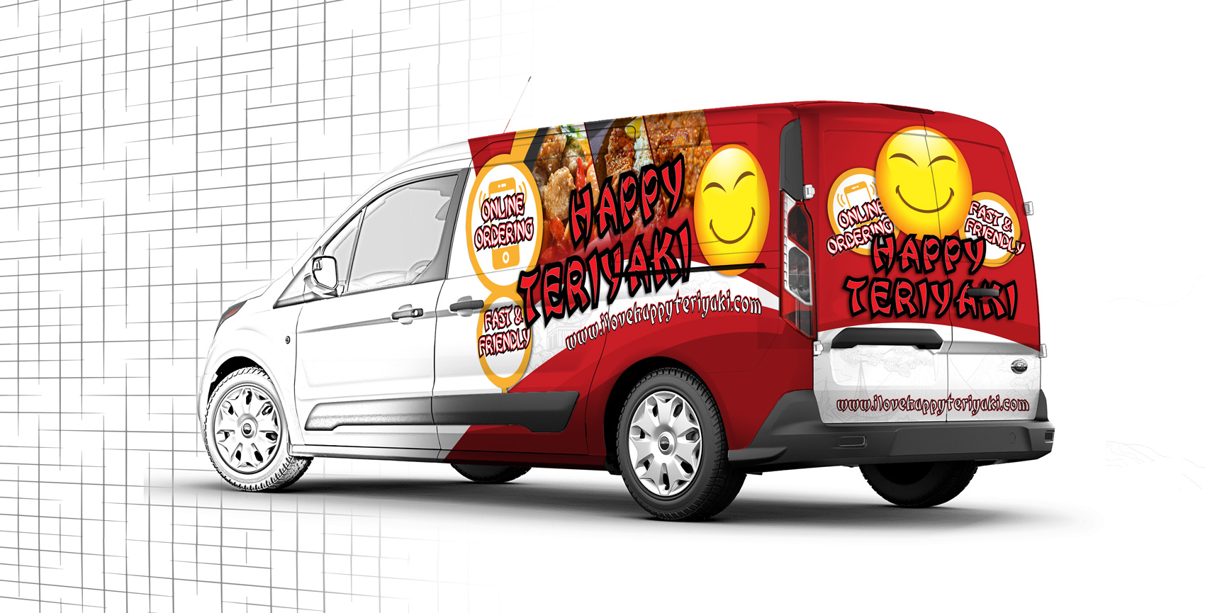 Happy Teriyaki 3/4 Van Wrap Design